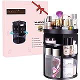EMOCCI Rotating Makeup Organizers 360 Adjustable Spinning Cosmetic Storage Box Case Large Capacity Make Up Holder Vanity Shelf Fits Counter top Bathroom Kitchen(Black)