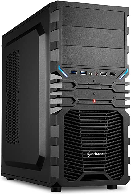 """Sharkoon VG4-V - Caja de ordenador gaming (semitorre ATX, incluye 2 ventiladores, lacado interior, 3 bahías de 5,25""""), negro: Sharkoon: Amazon.es: Informática"""