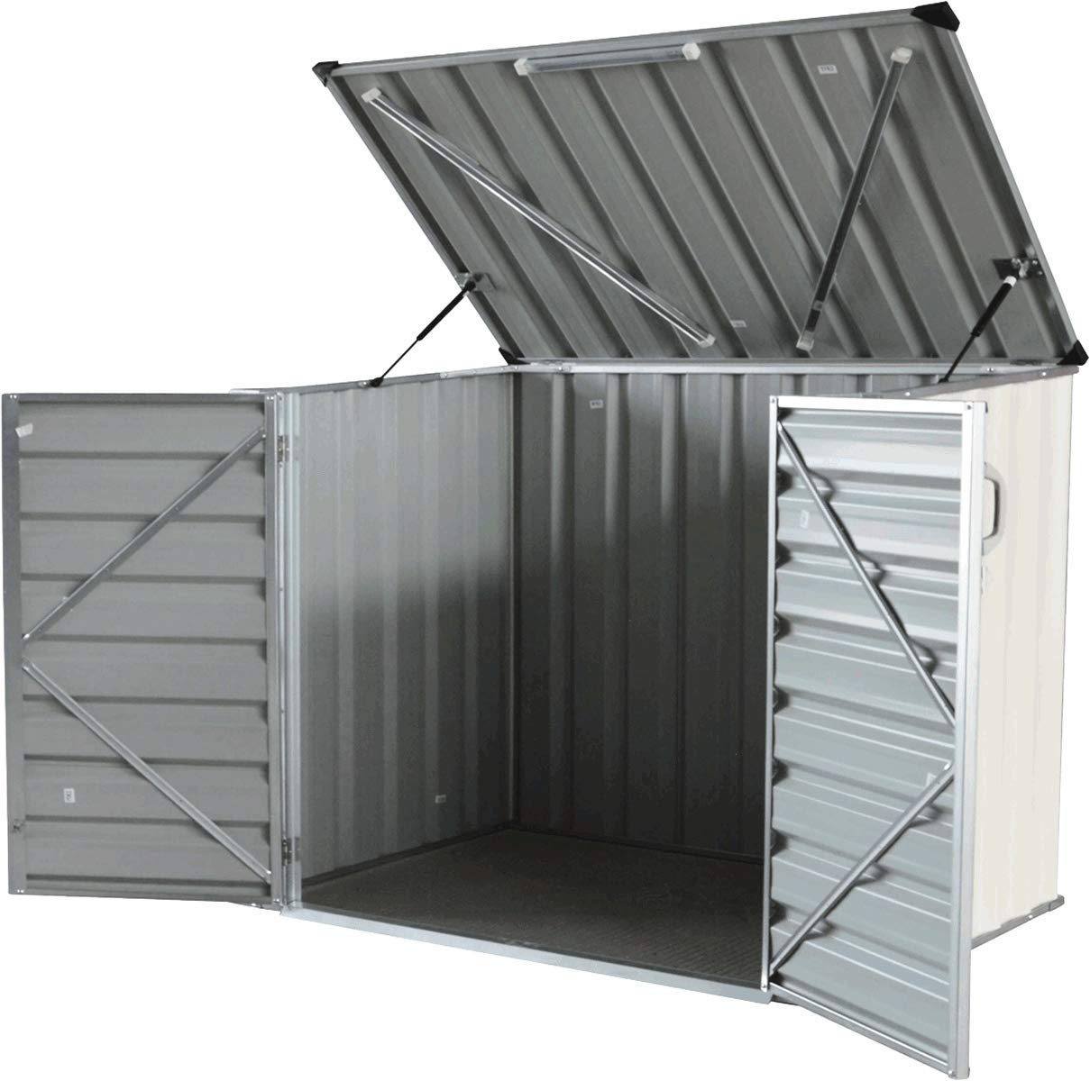 Click-Well 5x3 Metal Storage Shed. Low-Profile Horizontal, Ideal for Trash (2x64gal), Garden Tools, BBQ Grills, Firewood, Kid's Bikes/Outdoor Toys, Lawn Mower, Well Pump, Pool Pump/Filter, Animal Feed Kid's Bikes/Outdoor Toys CW0503-GSHSH-CM