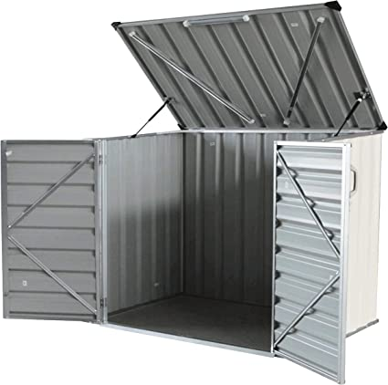 Click Well 5x3 Metal Storage Shed Kit. Low Profile Horizontal, Ideal For