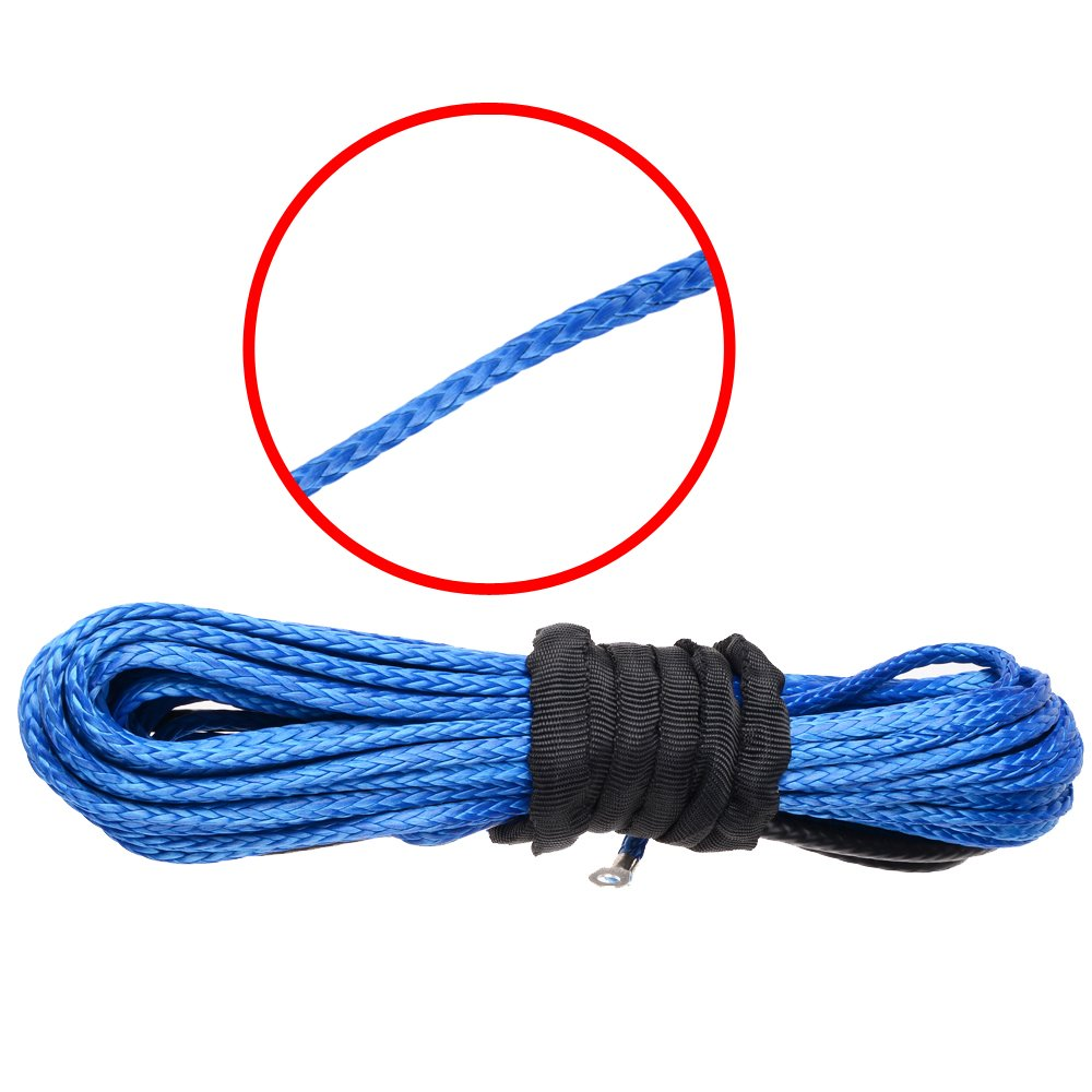 Synthetic Winch Line Cable Rope 3//16 x 50 Blue 5400Lbs for Car SUV ATV UTV Jeep