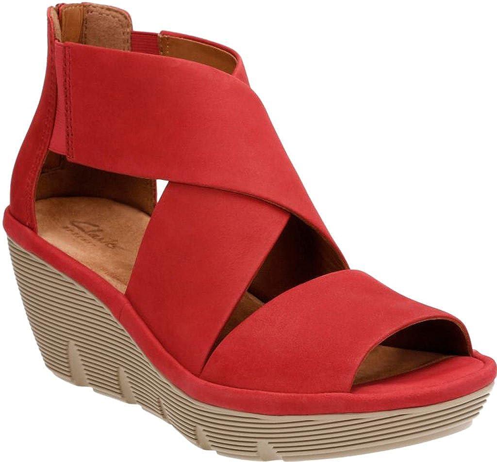 380e35da80ad Clarks Women s Clarene Glamour Red Nubuck Sandal  Amazon.co.uk  Shoes   Bags