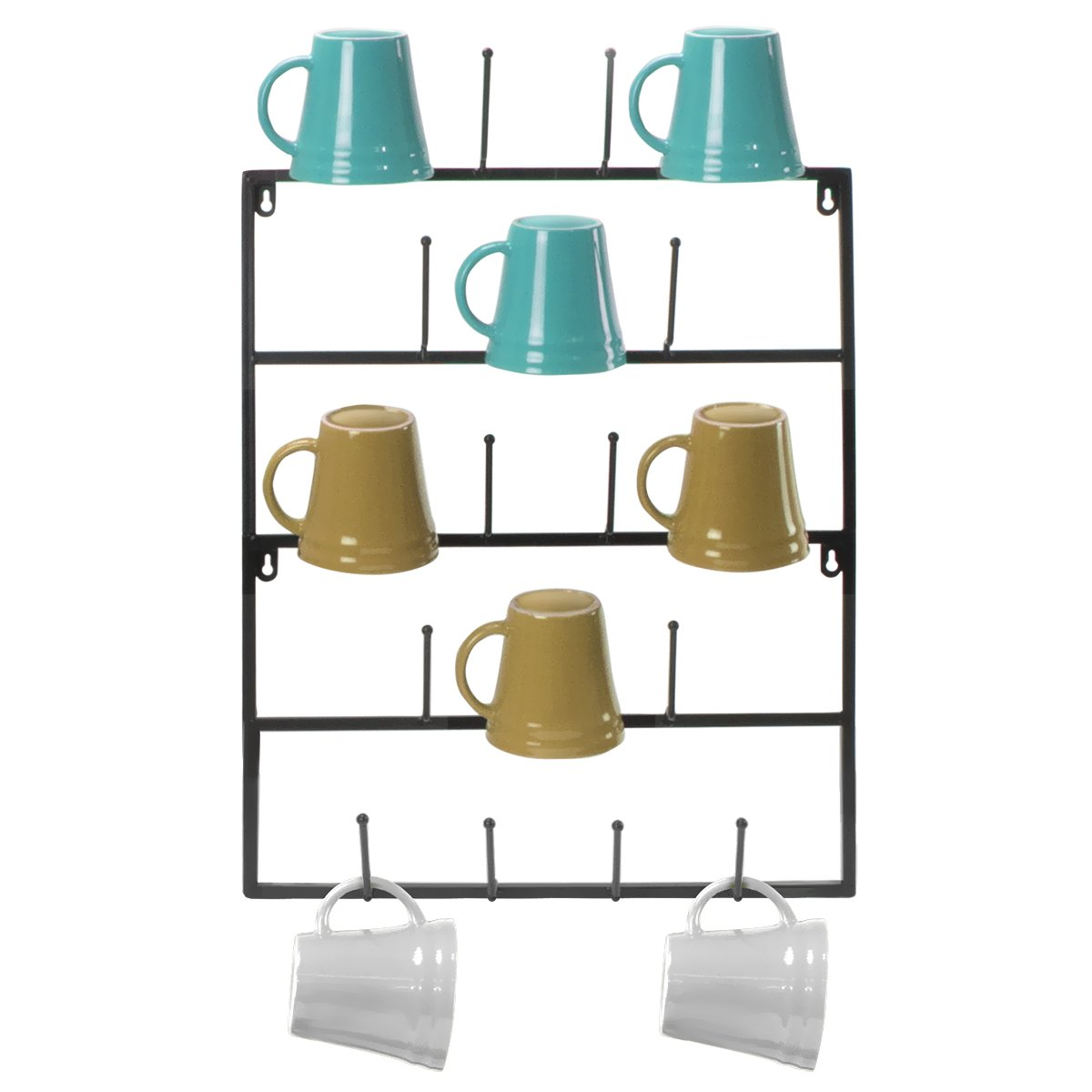 Sorbus Mug Rack Cup Holder - Wall Mounted Home Storage Mug Hooks with 5-Tier Display Organizer for Coffee Mugs, Tea Cups, Mason Jars, and More - Holds 18 Mugs - Black Metal by Sorbus