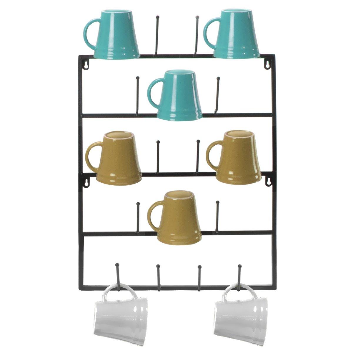 Sorbus Mug Rack Cup Holder - Wall Mounted Home Storage Mug Hooks with 5-Tier Display Organizer for Coffee Mugs, Tea Cups, Mason Jars, and More – Holds 18 Mugs – Black Metal