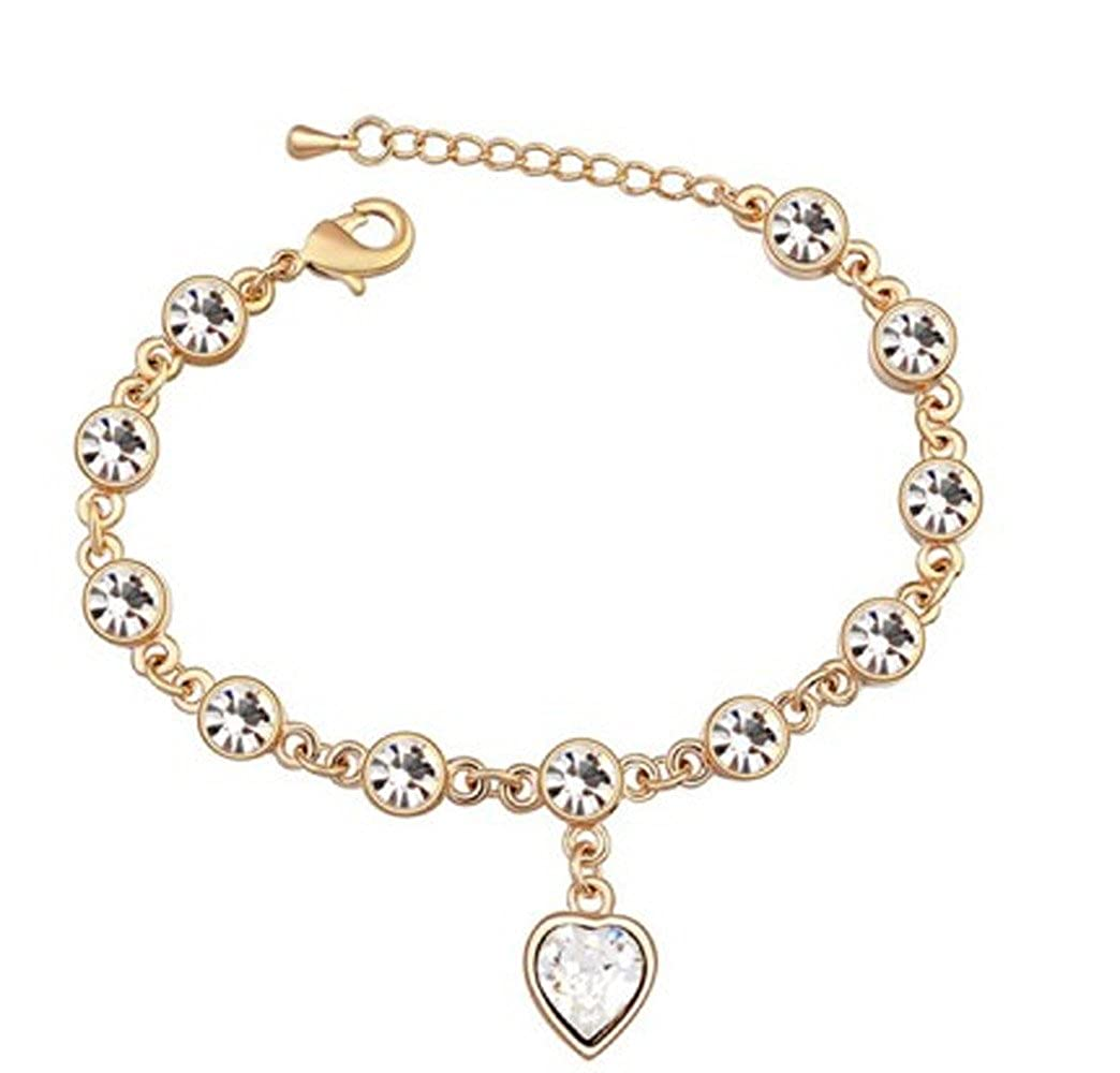 CNCbetter Swarovski Elements Crystal White Trend Heart Chain Link Charm Bracelet Rose Gold Plated