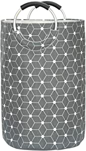 Xingte Large Laundry Hamper Cotton Linen Fabric Laundry Bag Laundry Basket Self-Standing Clothes Bags Storage Baskets, Rhombus and Dots