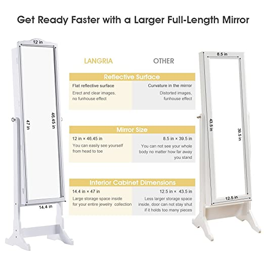 Beau Amazon.com: LANGRIA 10 LEDs Lockable Jewelry Cabinet Full Length Mirrored  Jewelry Armoire Free Standing, 5 Shelves, Organizer For Rings, Earrings, ...