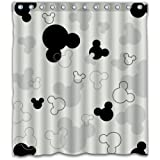 Patwee Black and White Mouse Design Shower Curtain Waterproof Fabric for Bathroom Decoration (66x72Inches)