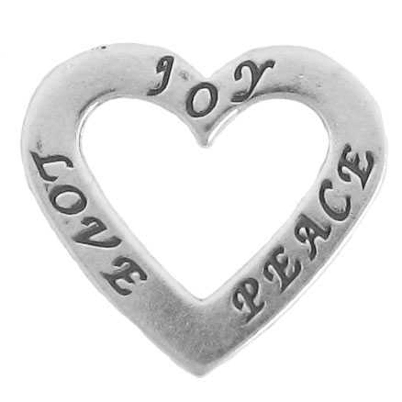 Sterling Silver 30'' Men's 1.5mm Two Sided LOVE JOY PEACE Heart Shaped Affirmation Slide Pendant Necklace