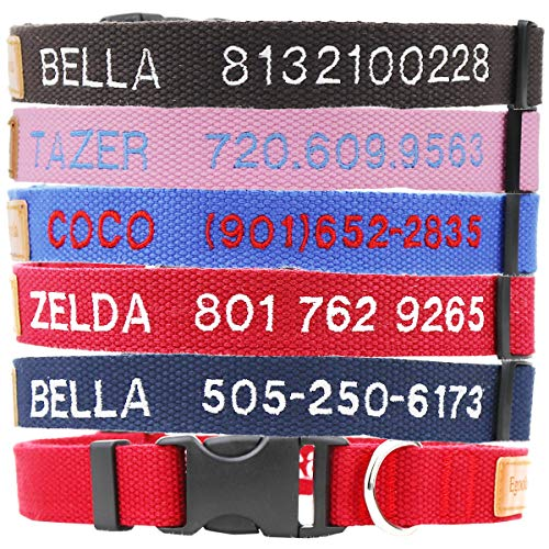 Personalized Dog Collar, Custom Embroidered ID Collars with Pet Name and Phone Number for Boy and Girl Dog, Adjustable Sizes Small Medium and Large Puppy (Multi Collar)