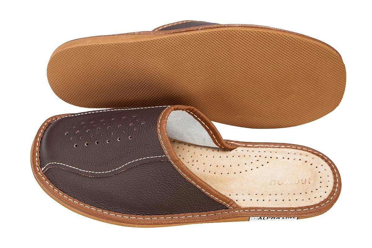 Alpha Line Hausschuhe Herren Pantoffeln Leich Natural 100% Leder Naturprodukt Handgefertigt Braun Dunkelbraun Fester Sohle Komfort Bequeme 41 42 43 44