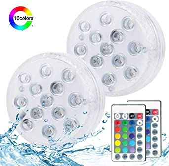 Luces LED sumergibles, control remoto Sumergible RGB LED 16 ...