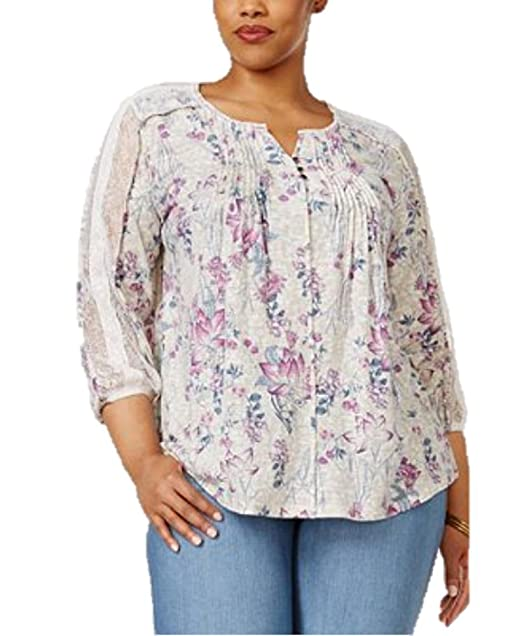 e2ef6400d71a3 Style   Co. Plus Size Floral-Print Peasant Top (1X) at Amazon ...