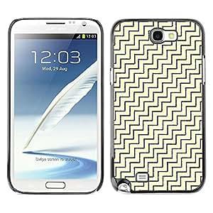 FECELL CITY // Duro Aluminio Pegatina PC Caso decorativo Funda Carcasa de Protección para Samsung Note 2 N7100 // Diagonal White Gold Pattern