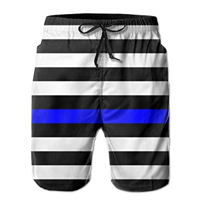 xj American Thin Blue Line Flag Day Men's Quick Dry Beach Board Shorts Summer Swim Trunks for Father's Day Medium|Thin Blue Line American Flag