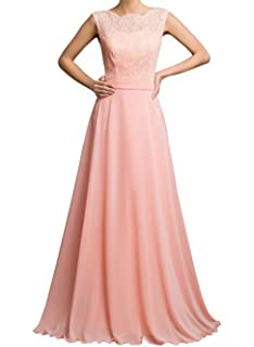 AngelDragon Open Back Pink Chiffon Evening Gowns Floor Length Prom Dresses