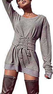 Pull Hiver Femme Chic,Koly Casual Bandage Tops Chemisier Manches Longues Simple Solide Femme Haut col Rond Longue Automne Mode Dames Pullover Shirt vêtements Femmes Autumn