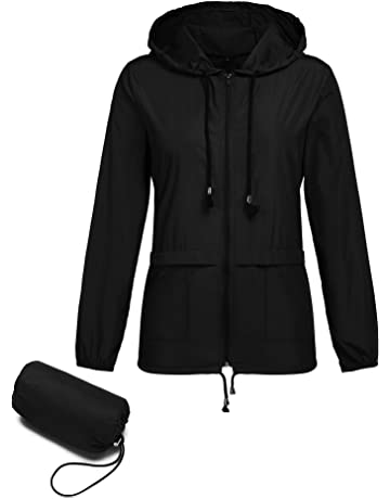 8163e23aa Romanstii Womens Lightweight Jacket Waterproof Raincoat Outdoor Hooded  Windproof Zipped Windbreaker with A Carry Pouch
