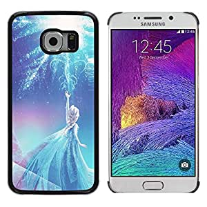Design for Girls Plastic Cover Case FOR Samsung Galaxy S6 EDGE Fairy Princess Blue Winter Children'S OBBA
