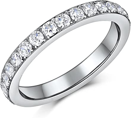 3MM High Polish Princess Cut Ladies Eternity Titanium Ring Wedding Band CZ