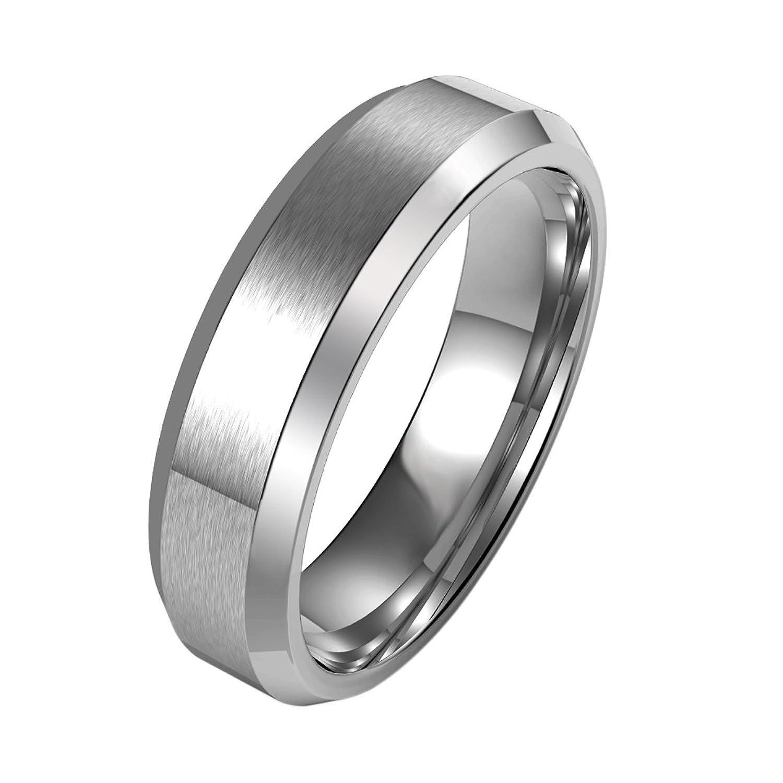 COOLMAN 7MM Stainless Steel Ring Wedding Band For Men Engagement Ring Comfort Fit Beveled Edges