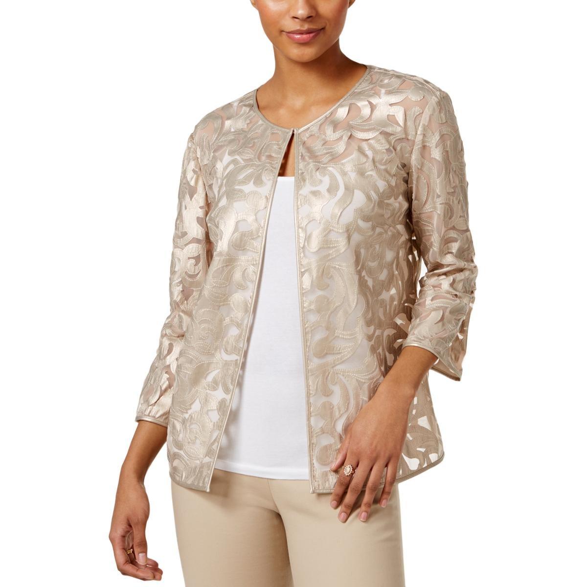 JM Collection Womens Petites Faux Leather Applique Jacket Gold PM