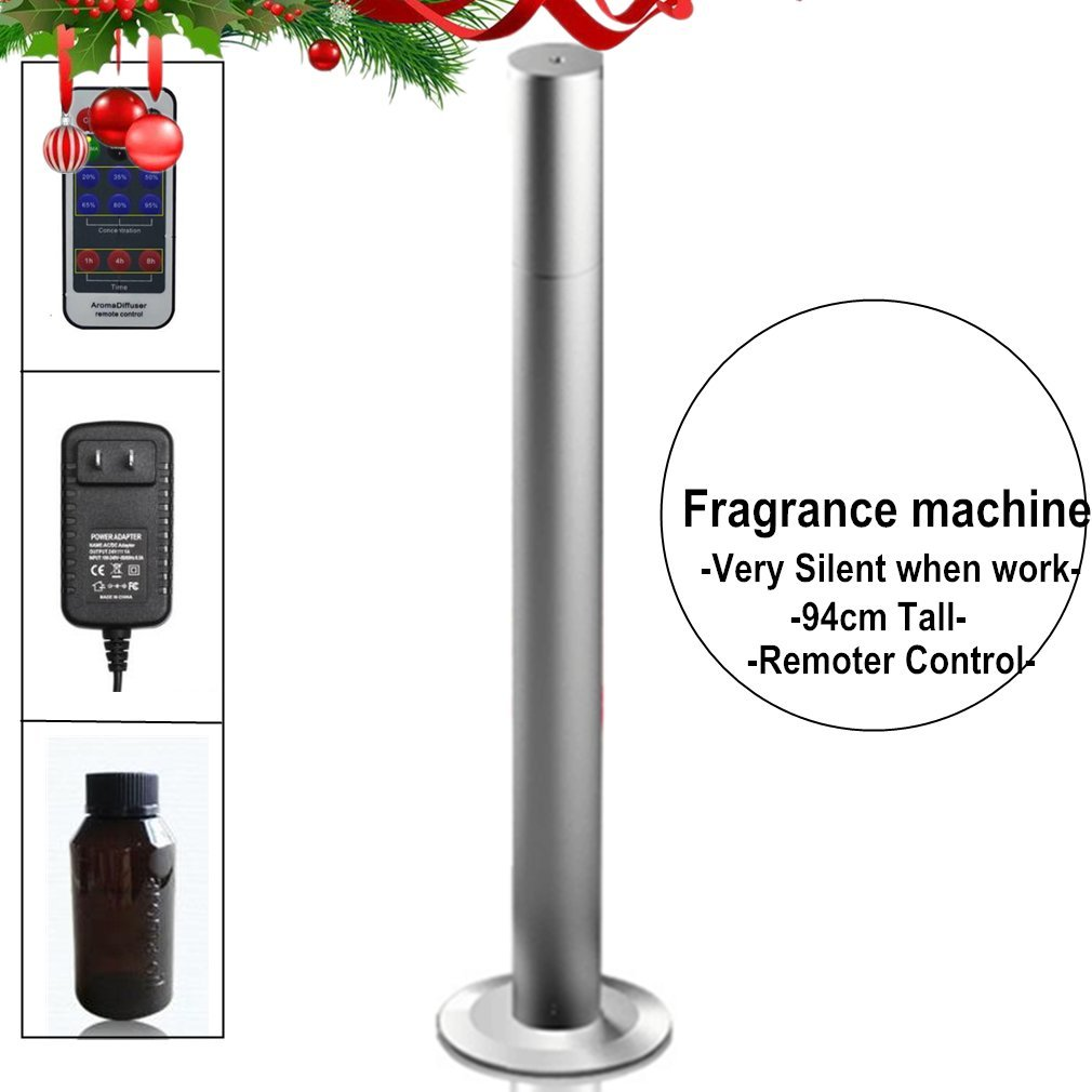 Fragrance Diffuser Machine 94cm Tall and Slim,Remoter Control,Water Free,200m3 Cover Area Silent like Breeze,Atomization Scented Units for Nebulizing System in Home Office Spa (Silver Color)
