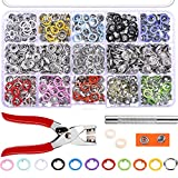 #8: Jovitec 200 Sets Snap Fasteners Romper Snaps Craft Pliers Tool Prong Buckle Metal Ring Button Press Studs Sewing Craft 9.5 mm, 10 Colors