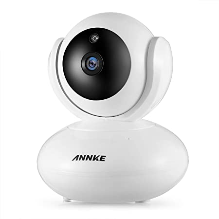 ANNKE 1080P IP Camera, Smart Wireless Pan/Tilt Home Security Camera, Work with Alexa (Echo Show/Echo Spot), Auto Tracking, APP Alarm Push, Two-Way Audio, Support 64GB TF Card, Cloud Storage Available