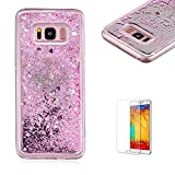 Funyye Liquid Mirror Case for Samsung Galaxy S8,Stylish Pink Sparkle Quicksand Love Hearts Design Slim Fit Hard PC Case for Samsung Galaxy S8,Crystal Rubber Durable Shell Bumper Back Protective Case for Samsung Galaxy S8 + 1 x Free Screen Protector