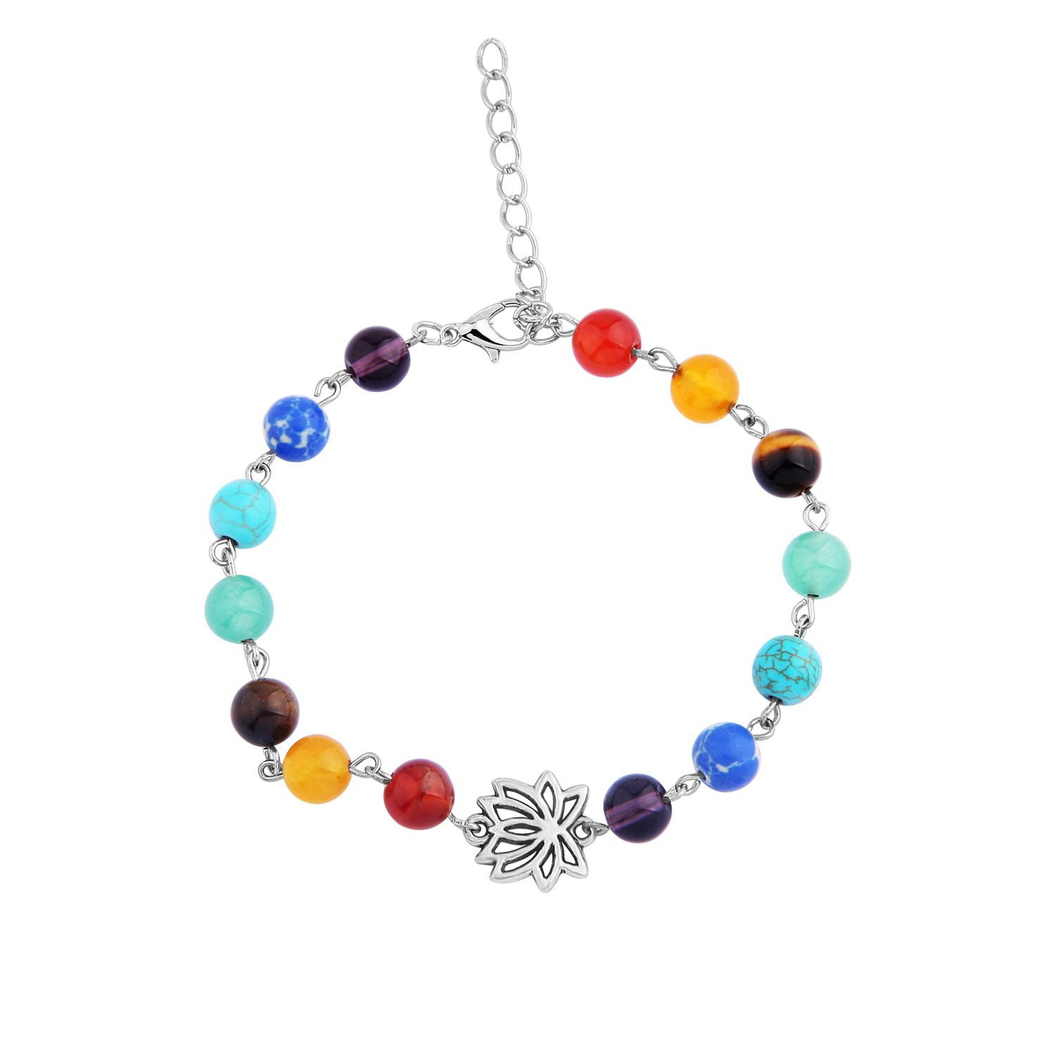 WUSUANED Yoga Jewelry 7 Chakra Healing Beads Lotus Bracelet Anklet Meditation Gift for Women Girls