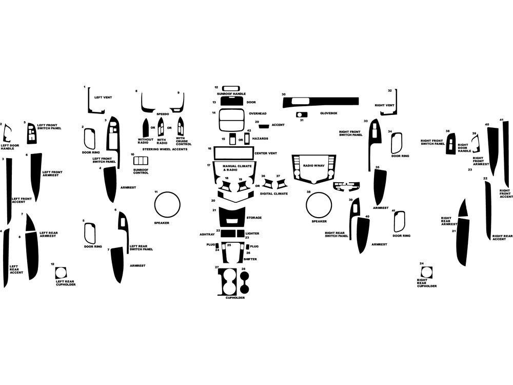 Rdash Dash Kit Decal Trim for Honda Accord 2003-2007 Carbon Fiber 3D Red