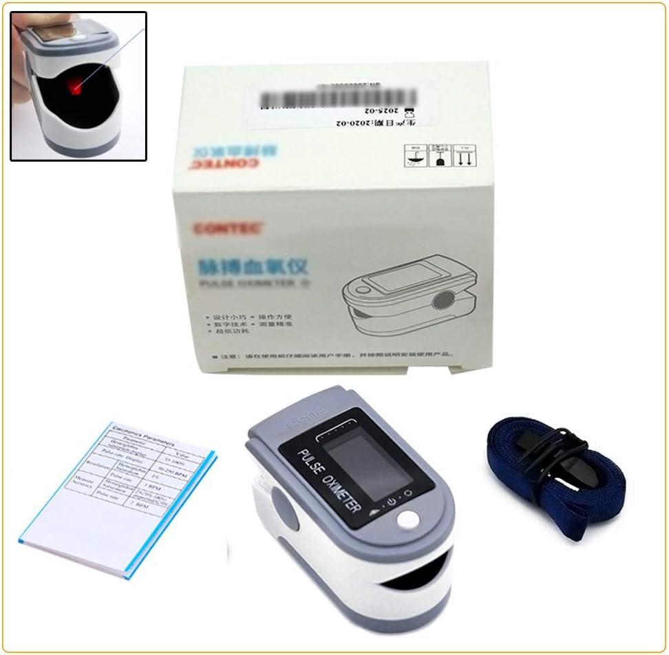 JKNMRL Oxímetro de Pulso de Dedo, con Pantalla LED (fácil de Leer) para la frecuencia cardíaca y la saturación de oxígeno en la Sangre (sin batería), Gris Claro, certificación CE