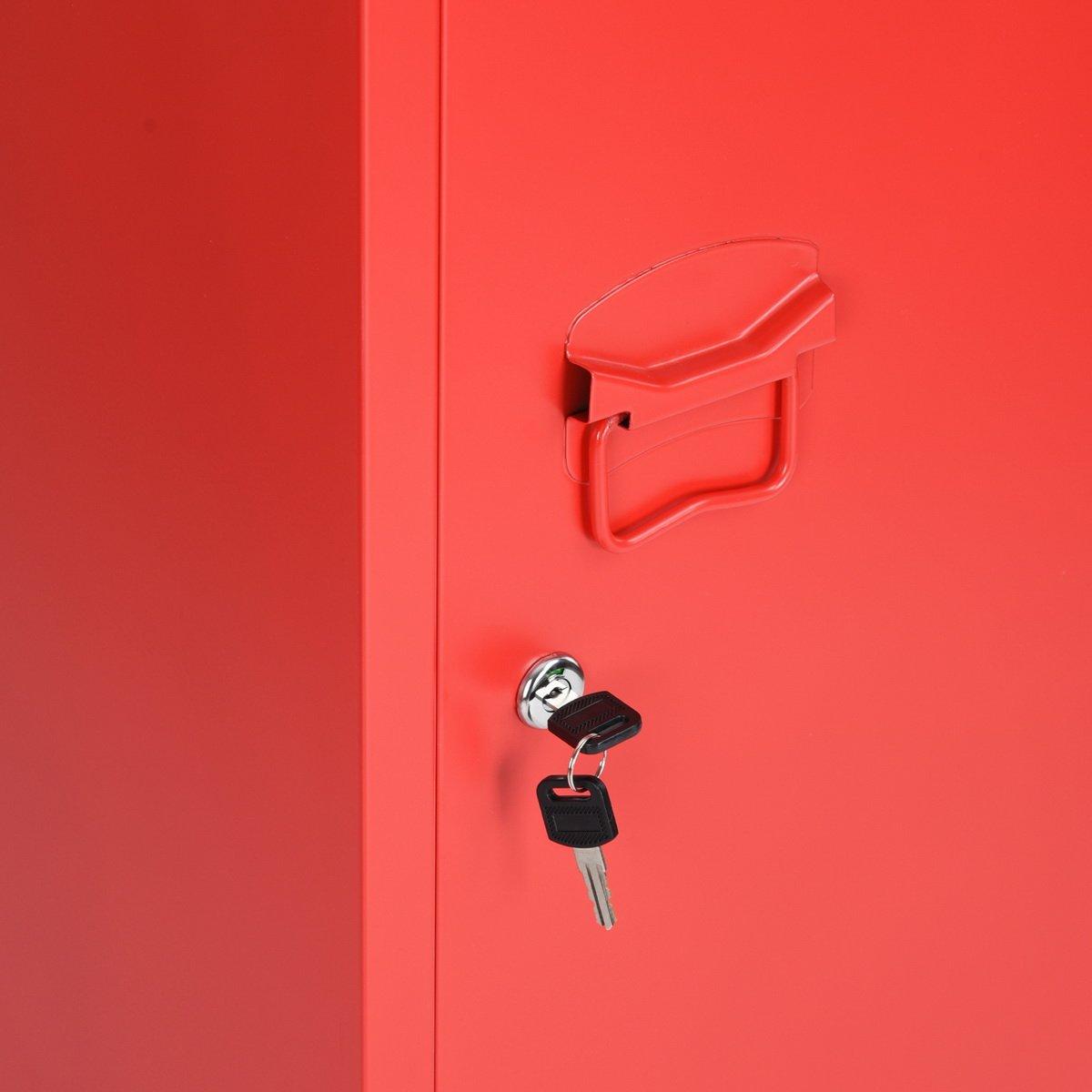 HouseinBox Office File Storage Metal Cabinet 3 Door Cupboard Locker Organizer Console Stand 3-in-1 (RED-Standing Locker) by HouseinBox (Image #7)