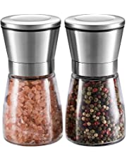 Salt and Pepper Grinder Set – WINSHEA Premium Stainless Steel Salt and Pepper Mill with Glass Body and Adjustable Coarseness, Brushed Stainless Steel Salt and Pepper Shakers