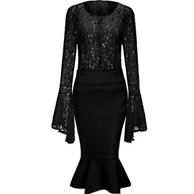 c0a8ef7f259 Bodycon4U Womens Bodycon Sexy Club Two Piece Dresses Lace Top and Midi Skirt  Set Outfits Black