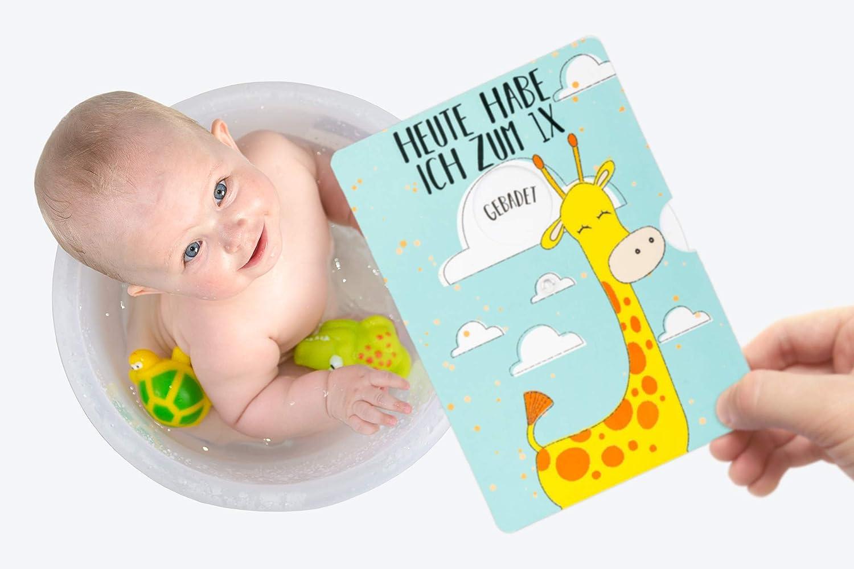 Geburt alle wichtigen Meilensteine im 1 f/ür Jungen und M/ädchen Taufe Friendly Fox Fotokarte f/ür Babys tolles Geschenk zur Babyparty Jahr