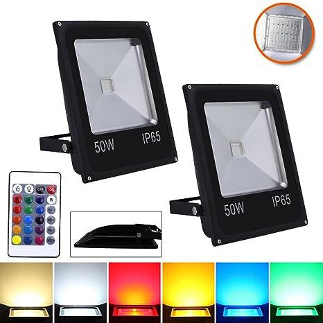 10-50W LED RGB Fluter Farbig Außen Fluter Flutbeleuchtung Baustrahler IP65