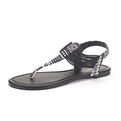 DREAM PAIRS SPPARKLY Women's Elastic Strappy String Thong Ankle Strap  Summer Gladiator Sandals Black Multi Size