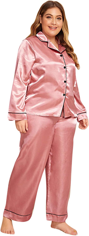 Milumia Womens Sleepwear Plus Button Casual Nightwear Top Pajamas Set Loungewear Set