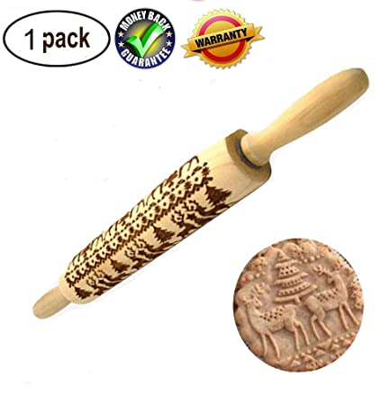 starall Wooden Rolling Pin Embossing Christmas Baking Cookies Biscuit Fondant Tool
