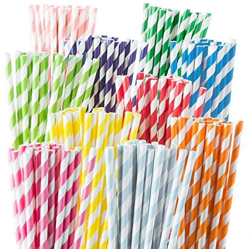 Weemium 200 Biodegradable Paper Straws - Durable & Eco-Friendly in 10 Color Stripes - Rainbow Drinking Straws & Party Decoration Supplies ()