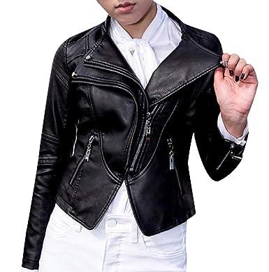 a6a34c0a74 Vska Women Smooth Slim Casual Oblique Zipper Faux Leather Jackets Black S