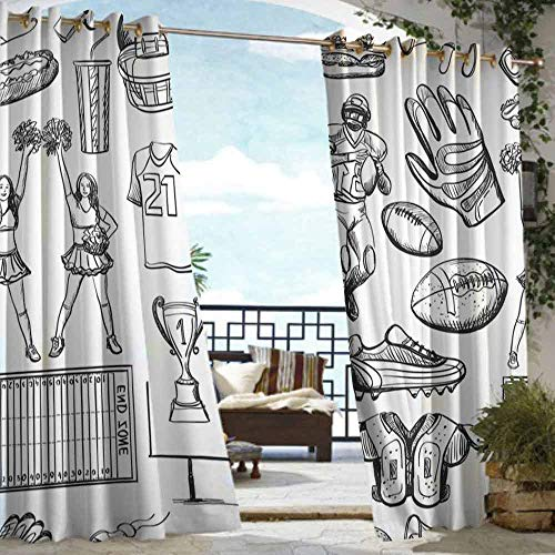 DILITECK Outdoor Grommet Top Curtain Panel Football Cup Ball Cheerleader Player Sneakers Sports Equipment Sketch Pattern for Patio/Front Porch W108 xL72 Charcoal Grey and White