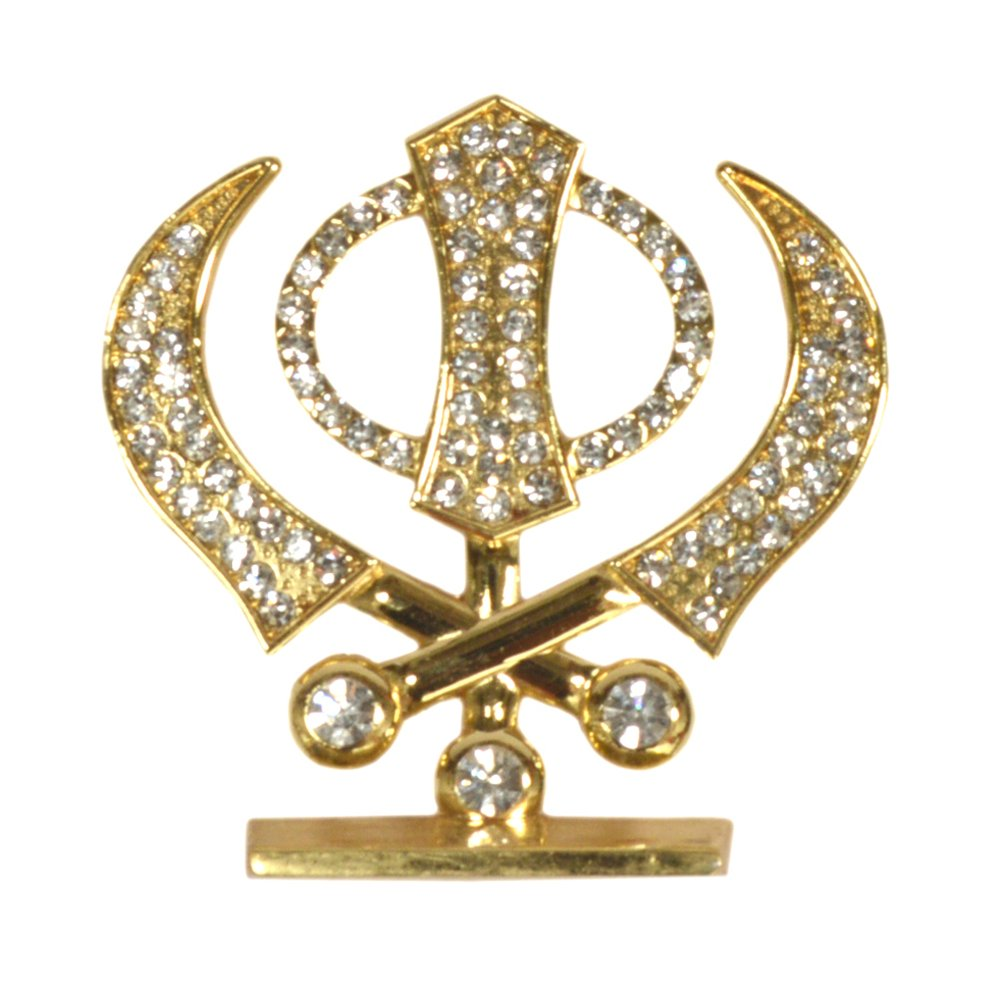 Purpledip Sikh Religious Symbol \'Khanda\' Showpiece Statue for Home Temple, Office Table or Car Dashboard (10291)