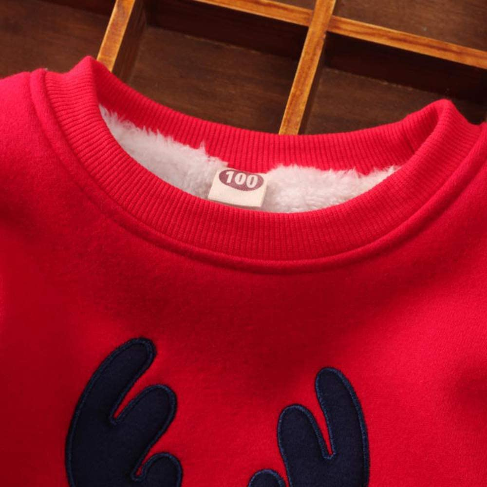 DDSOL Baby Boys Sweatshirt Christmas Reindeer Fleece Lining Sweaters Winter Warm Pullover Shirts 2T-7T