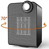 OPOLAR Space Heater Electric Indoor Portable Personal Use, Auto Oscillating, Quiet Ceramic Thermostat for Office, Bedroom, Under Desk, Floor-1500w Compact, Black