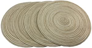 Set of 4 Placemats,Round Placemats for Dining Table Woven Heat Resistant Non-Slip Kitchen Table Mats Diameter 14 Inch