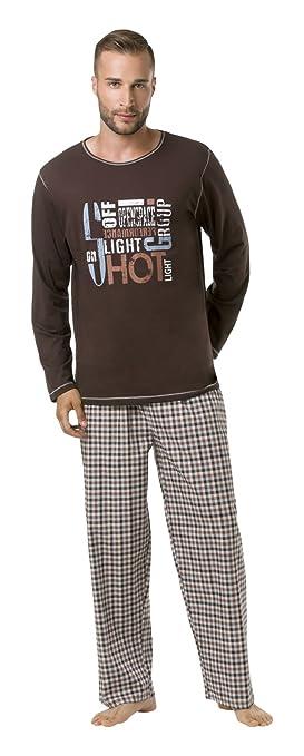 Envie Pijama de hombre larga Shot Group, marrón/marrón, XXL