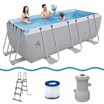 JILONG Pool Set Passaat Grey 400x200x99 cm de Marco de Acero con Bomba y Escalera de Piscina: Amazon.es: Deportes y aire libre